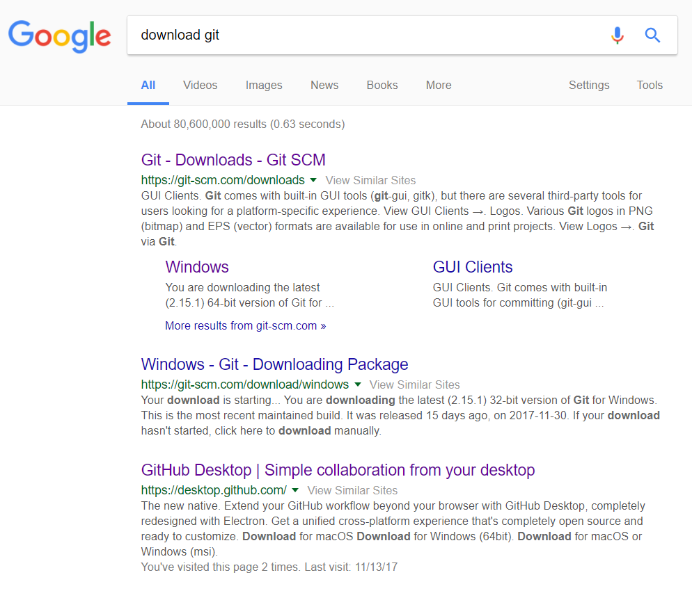 search download git in google