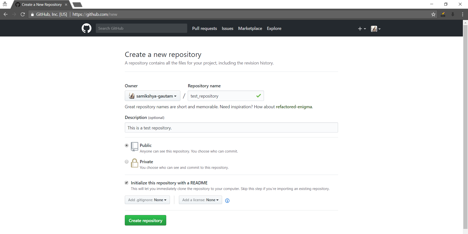 create new repository fill up info